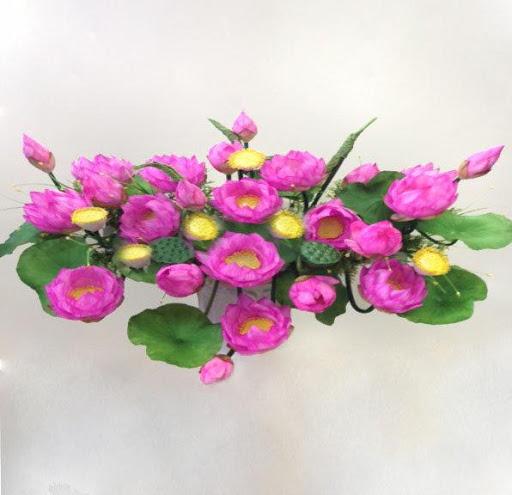Chất liệu hoa sen trang trí bục tượng Bác